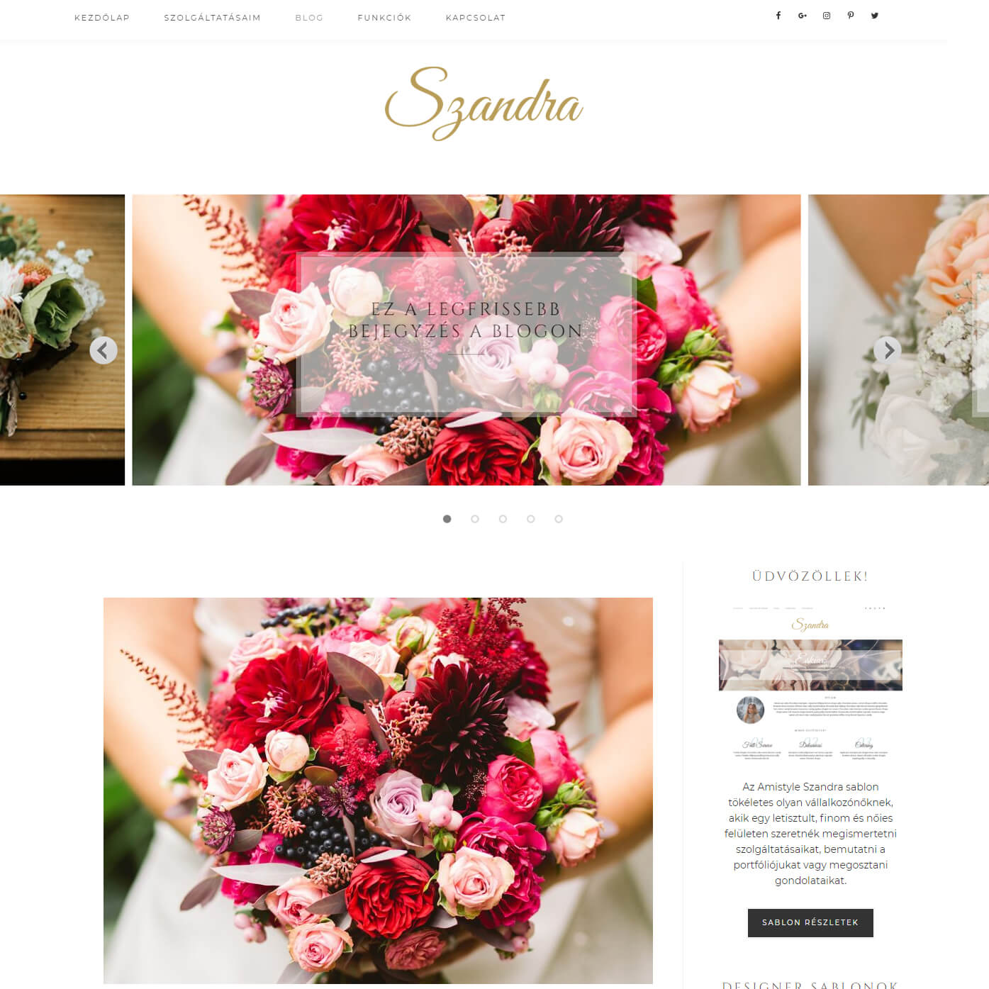 Szandra Wordpress Sablon Amistyle Webdesign