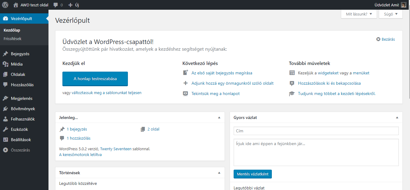 Wordpress vezérlőpult