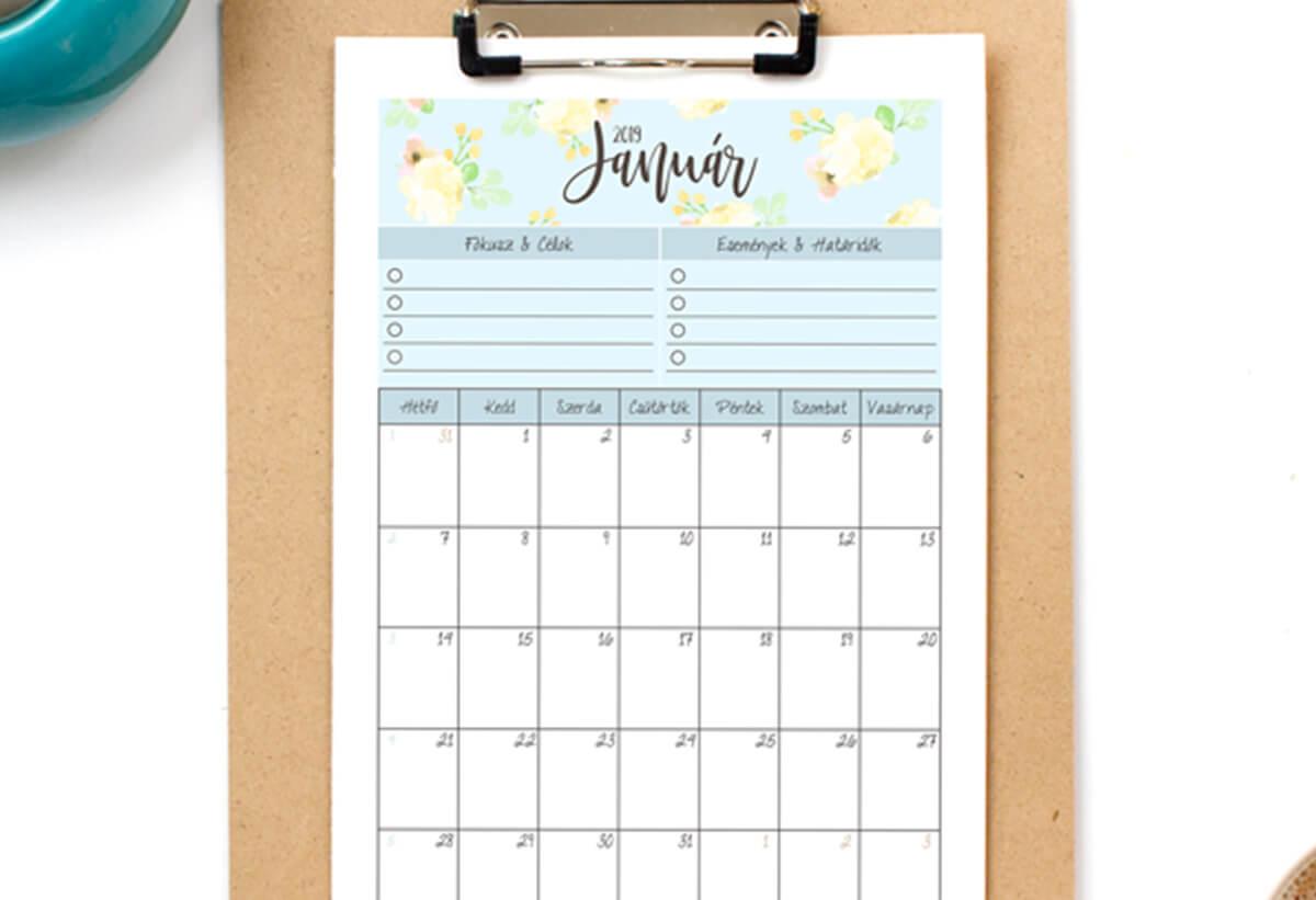 Letölthető naptár és háttérkép - 2019. Január