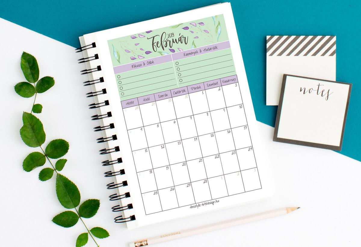 Ingyenesen letölthető naptár 2019 február